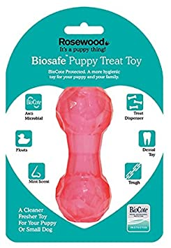 BIOSAFE PUPPY TREAT DUMBELL PINK