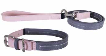 Baby Pink/Grey Leather Collar 10-14""
