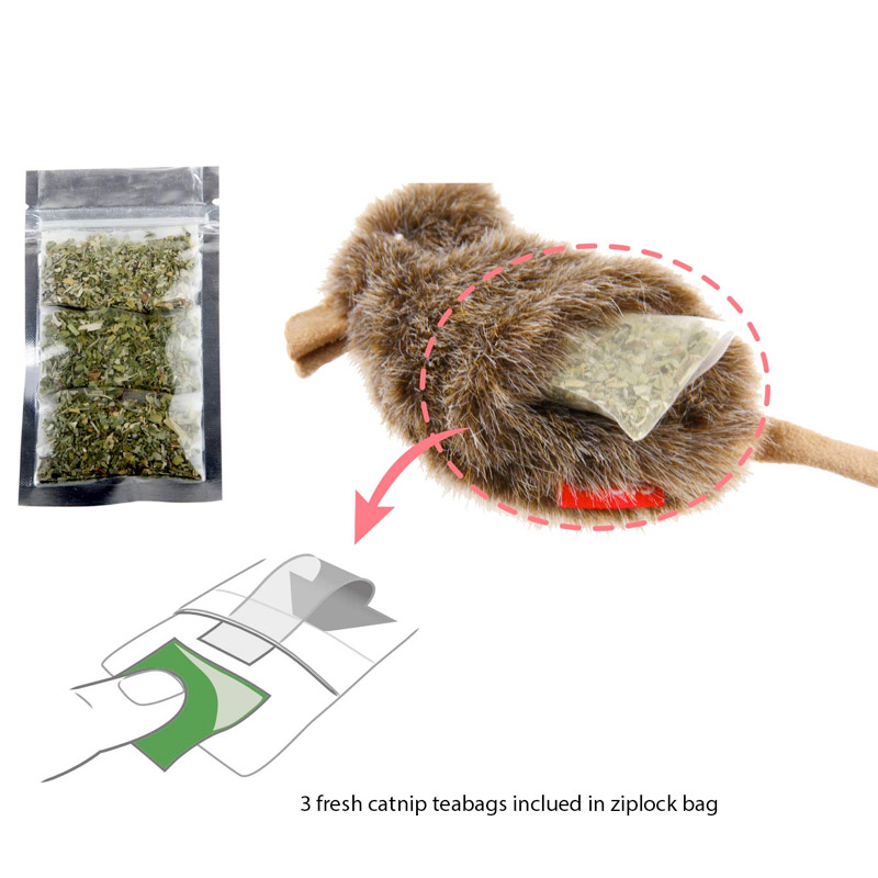 Gigwi Mouse Refilable Catnip with 3catnip teabags