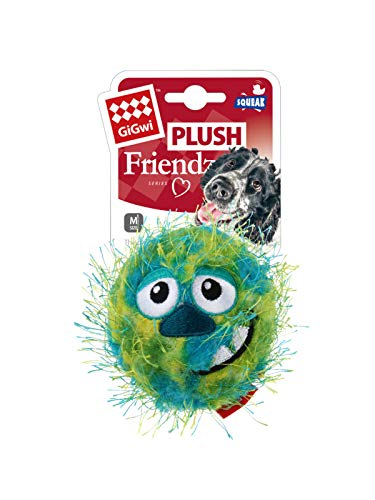 Gigwi Medium Green Ball Plush Friendz with foam rubber ball with squeaker