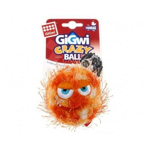 Gigwi Medium Orange Ball Plush Friendz with foam rubber ball with squeaker